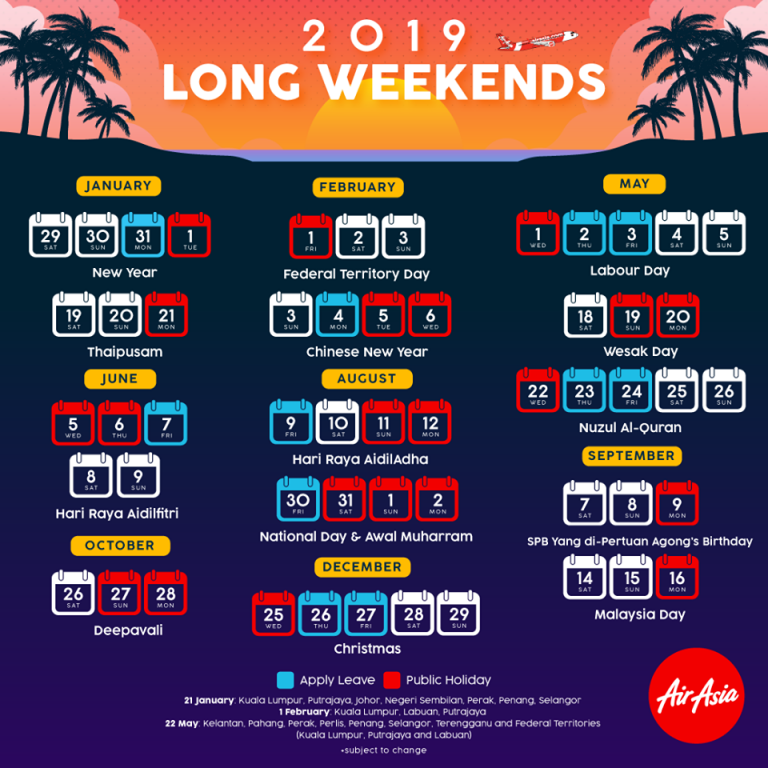 long weekends 2019